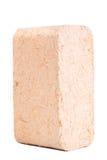 Carvões amassados de madeira isolados no fundo branco firewood briquettes fotografia de stock