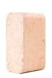 Carvões amassados de madeira isolados no fundo branco firewood briquettes imagens de stock royalty free