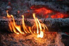 Carvões ardentes antes de grelhar foto de stock