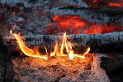 Carvões ardentes antes de grelhar imagem de stock