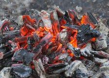 Carvões ardentes após o cozimento na grelha foto de stock royalty free