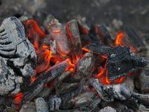 Carvões ardentes após o cozimento na grelha foto de stock