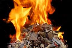 Carvões ardentes, chama brilhante com faíscas imagem de stock royalty free