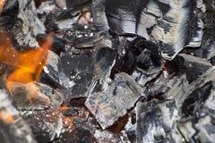 Carvões de queimadura da lenha na chama do fogo Fundo fotografia de stock royalty free