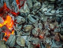Carvões de queimadura, grade quente do carvão vegetal, cozinhando a carne em carvões ardentes imagens de stock