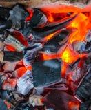 Carvões de queimadura, grade quente do carvão vegetal, cozinhando a carne em carvões ardentes foto de stock