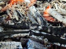 Carvões de uma fogueira ardente imagem de stock royalty free