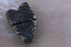 Carvões em um fogo, carvão sob a forma dos corações fotografia de stock
