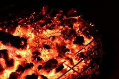 Carvões encarnados em uma fogueira Imagens de Stock Royalty Free