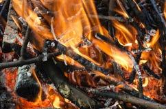 Carvões quentes da madeira queimada Fotos de Stock Royalty Free