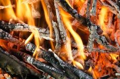 Carvões quentes da madeira queimada Imagens de Stock