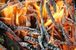 Carvões quentes da madeira queimada Foto de Stock Royalty Free