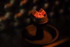 Carvões quentes do cachimbo de água para fumar Fotografia de Stock Royalty Free