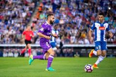 Carvajal joga na harmonia de Liga do La entre CF do RCD Espanyol e do Real Madrid fotografia de stock royalty free