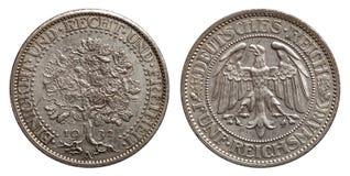 Carvalho 1932 da moeda de prata da marca de Alemanha Weimar 5 imagens de stock royalty free