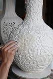 Carve porcelain process Stock Photo