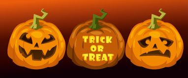 Carve pumpkins. trick or treat. Horizontal festive halloween background Stock Photo