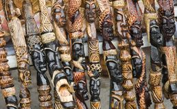 Carved African Walking Sticks Stock Images
