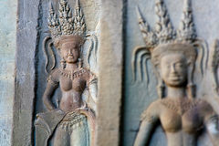 Carved apsara dancers Royalty Free Stock Photography