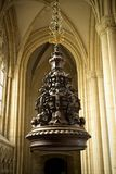 Carved Baptism Font Cover in the south aisle of Beverley Minster Parish Church, Beverely, East Riding of Yorkshire, UK - March. A Carved Baptism Font Cover in stock image