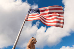 Carved bear and American flag Royalty Free Stock Photos