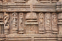 Carved beautiful sculptures at Sun Temple, Konark. Konark Sun Temple  also known as the Black Pagoda ia a 13th-century Sun Temple at Konark, in Orissa.The entire Stock Photos