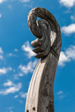 Carved bird`s head on a boat Viking Drakkar Stock Images