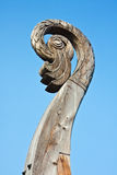 Carved bird's head on a boat Viking Drakkar in Vyborg Stock Photos
