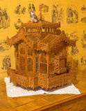 Carved birth crate  from 19. cent. in palace Saint Anton. Stock Images