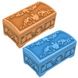 Carved boxes beige and blue colors. Vector image on white background. Isolated illustration for your design needs Royalty Free Stock Photo