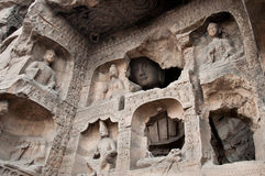 Carved buddhas at the Yungang Caves, Datong Stock Photography
