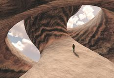 Carved canyon. Man on carved canyon rock with cloudy sky. Human elements were created with 3D software and are not from any actual human likenesses vector illustration