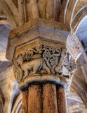 Carved capital in the monastery of Carracedo Stock Photography