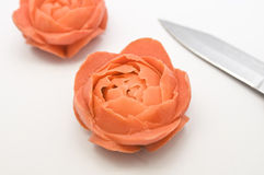 Carved Carrot Flowers Royalty Free Stock Photo