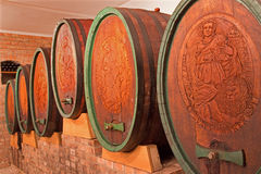 Carved casks in wine cellar of great Slovak producer Royalty Free Stock Image