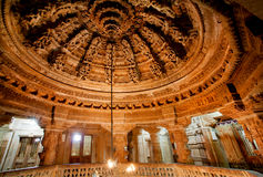 Carved ceiling of Jain temples in Rajasthan. Carved ceiling of 12th century Jain temples in Jaisalmer, India. City lies in the heart of the Thar Desert and has a Royalty Free Stock Photo