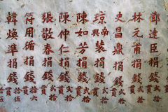 Carved Chinese characters. Red Chinese characters carved into a grey wall Stock Images