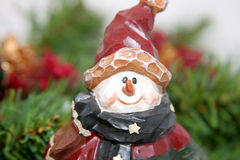 Carved Christmas snowman royalty free stock photos