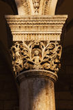 Carved column of the Rector's Palace in Dubrovnik Royalty Free Stock Photo