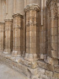 Carved columns belonging to an ancient castle. Stock Images