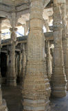 Carved columns inside the Jain Temple of Ranakpur Royalty Free Stock Images