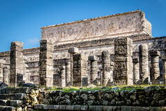 Carved columns at Mayan ruins of Temple of the Warriors in Chichen Itza - Yucatan, Mexico Royalty Free Stock Images