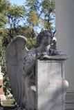 Carved faceless angel headstone, Illinois stock photos
