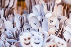 Carved cups, spoons, forks and other utensils of wood Royalty Free Stock Photography