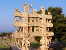 Carved decorated gateway of sanchi Buddhist monument in india Royalty Free Stock Image