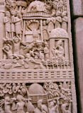 Carved decorated pillars of sanchi Buddhist monument in india Stock Photography