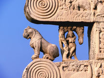 Carved decorated pillars of sanchi Buddhist monument in india Royalty Free Stock Photography