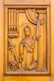 Carved decorations on the wooden door Stock Images