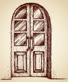 Carved door with glass. Vector drawing royalty free illustration