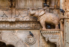 Carved elephant on column in Indian architectural style Royalty Free Stock Photo